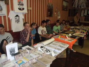 Zine creators chill out...